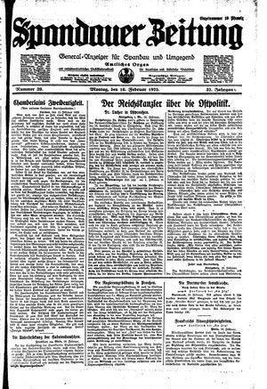 Spandauer Zeitung vom 16.02.1925