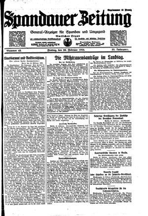 Spandauer Zeitung vom 20.02.1925