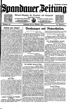 Spandauer Zeitung vom 24.02.1925
