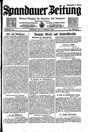 Spandauer Zeitung vom 25.02.1925