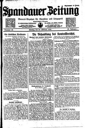 Spandauer Zeitung vom 27.02.1925