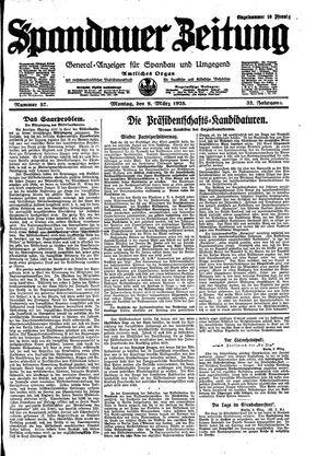 Spandauer Zeitung vom 09.03.1925