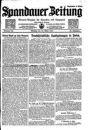 Spandauer Zeitung vom 16.03.1925