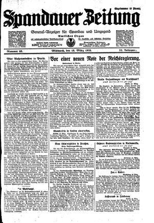 Spandauer Zeitung vom 18.03.1925