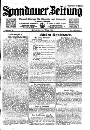 Spandauer Zeitung vom 20.03.1925