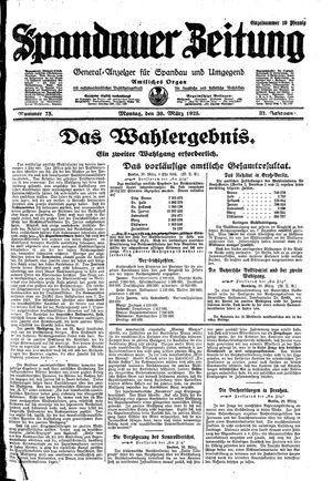 Spandauer Zeitung vom 30.03.1925