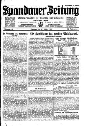 Spandauer Zeitung vom 31.03.1925