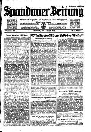 Spandauer Zeitung vom 01.04.1925