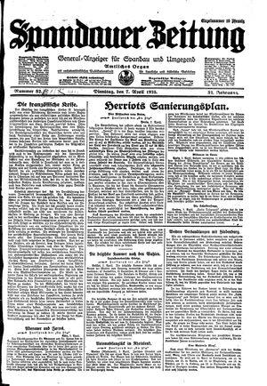 Spandauer Zeitung vom 07.04.1925
