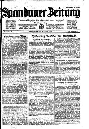 Spandauer Zeitung vom 09.04.1925