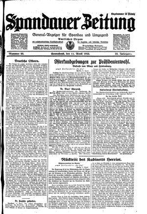 Spandauer Zeitung vom 11.04.1925