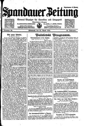 Spandauer Zeitung vom 22.04.1925