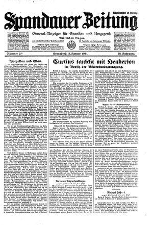 Spandauer Zeitung vom 03.01.1931