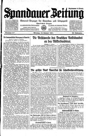 Spandauer Zeitung vom 12.01.1931
