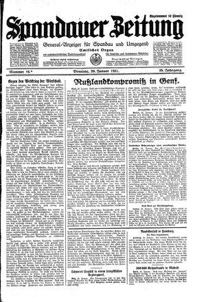 Spandauer Zeitung vom 20.01.1931