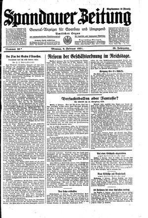 Spandauer Zeitung vom 09.02.1931