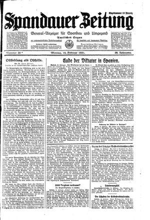 Spandauer Zeitung vom 16.02.1931