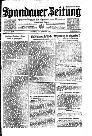 Spandauer Zeitung vom 17.02.1931
