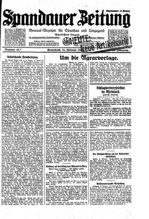 Spandauer Zeitung vom 21.02.1931