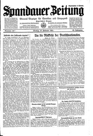Spandauer Zeitung on Feb 27, 1931
