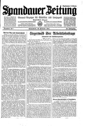 Spandauer Zeitung vom 28.02.1931