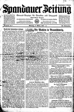 Spandauer Zeitung vom 02.03.1931