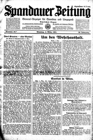 Spandauer Zeitung on Mar 3, 1931