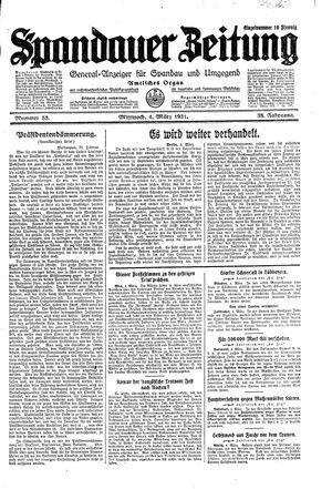 Spandauer Zeitung vom 04.03.1931