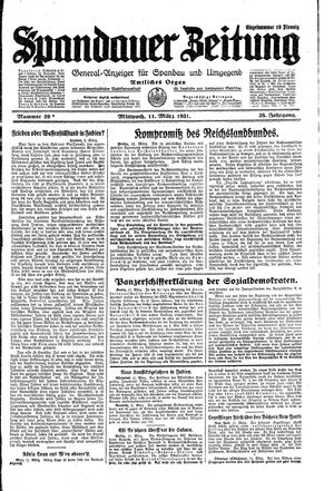 Spandauer Zeitung vom 11.03.1931