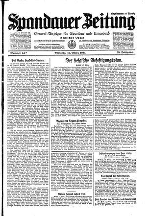 Spandauer Zeitung vom 17.03.1931