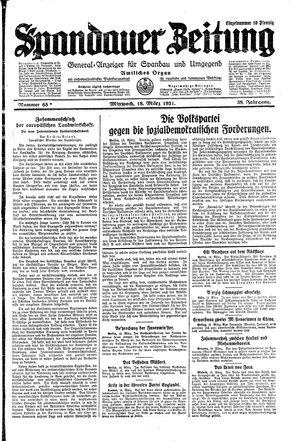 Spandauer Zeitung vom 18.03.1931