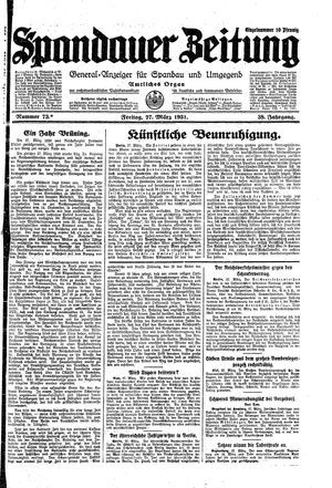 Spandauer Zeitung vom 27.03.1931