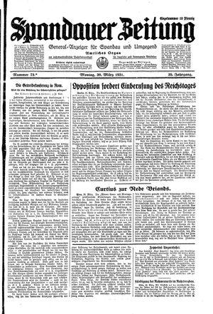 Spandauer Zeitung vom 30.03.1931