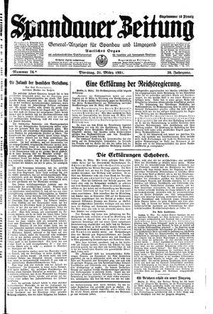 Spandauer Zeitung vom 31.03.1931