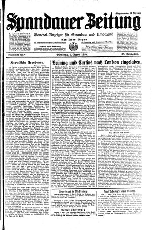 Spandauer Zeitung vom 07.04.1931