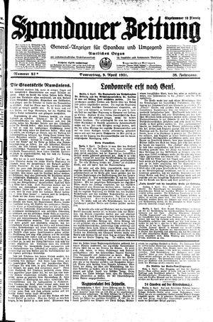 Spandauer Zeitung vom 09.04.1931