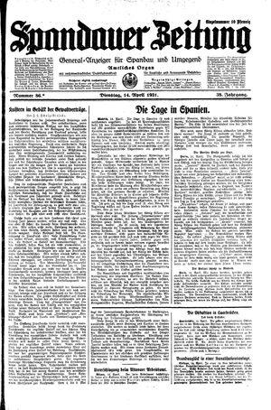Spandauer Zeitung vom 14.04.1931