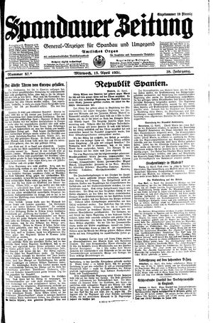 Spandauer Zeitung vom 15.04.1931