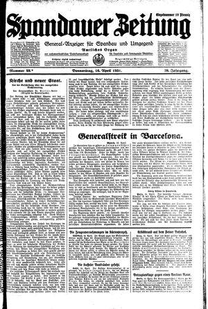 Spandauer Zeitung vom 16.04.1931