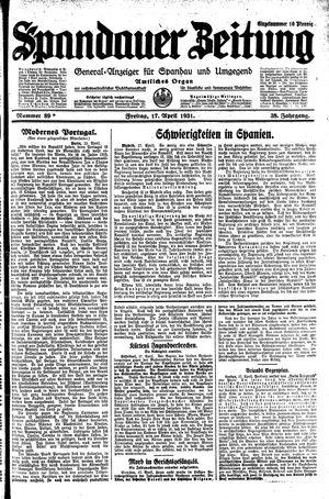 Spandauer Zeitung vom 17.04.1931