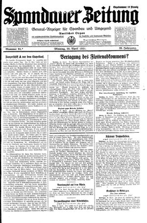Spandauer Zeitung vom 20.04.1931