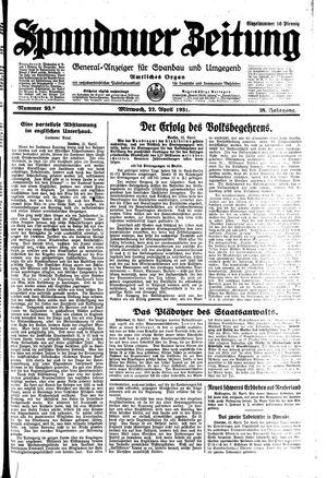 Spandauer Zeitung vom 22.04.1931