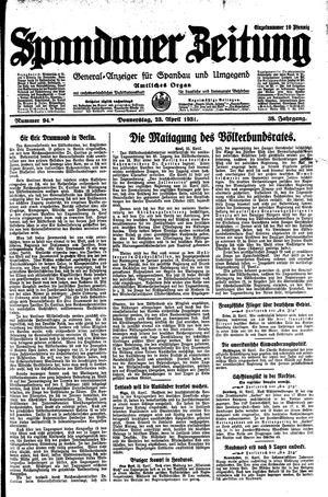 Spandauer Zeitung vom 23.04.1931