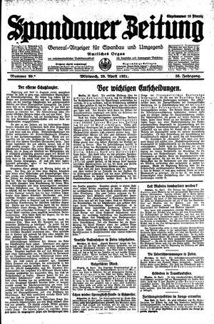 Spandauer Zeitung vom 29.04.1931
