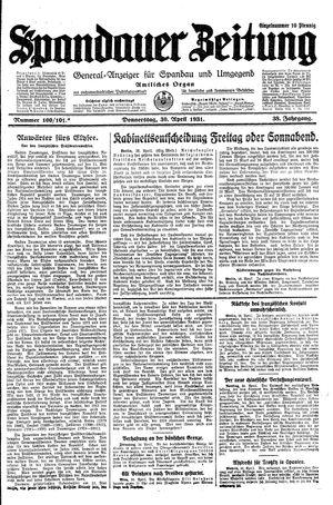 Spandauer Zeitung vom 30.04.1931