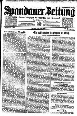 Spandauer Zeitung vom 15.05.1931