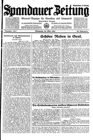 Spandauer Zeitung vom 20.05.1931