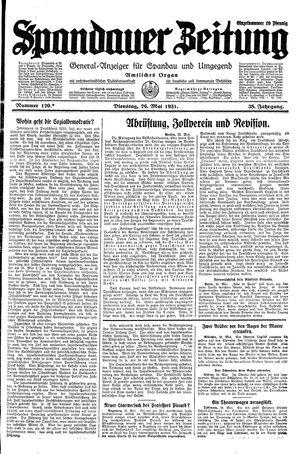 Spandauer Zeitung vom 26.05.1931