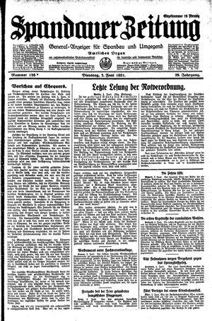 Spandauer Zeitung vom 02.06.1931