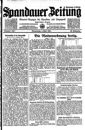 Spandauer Zeitung vom 04.06.1931